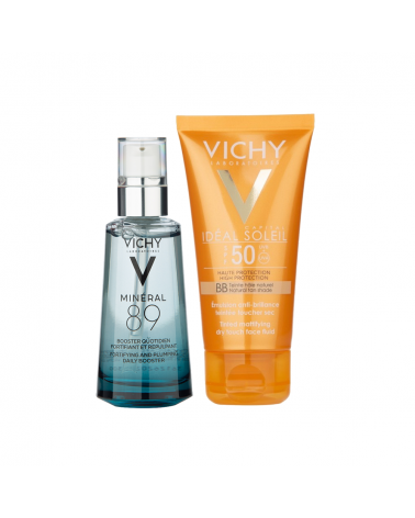 Combo Mineral 89 x 50 ml. + Ideal Soleil Toque Seco Color Vichy x 50 ml