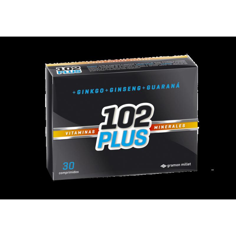 102 Plus Vitaminas Minerales Ginko Ginseng Guarana X 30 Comp
