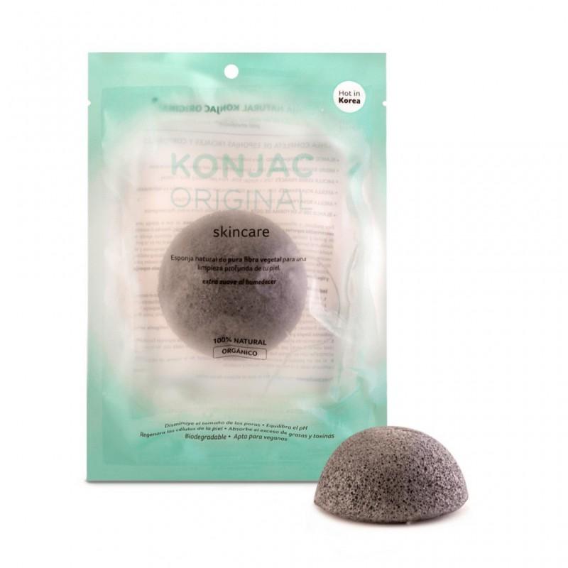 Konjac Esponja Facial Negra Con Cenizas Activas De Bamboo 100% Natural Y Organico
