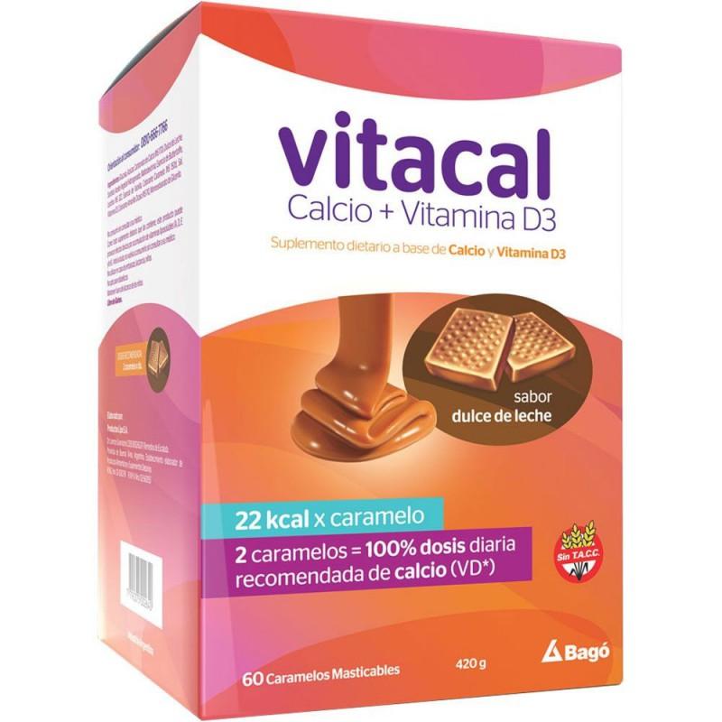 Vitalcal Suplemento Dietario Caramelos Masticables Dulce de Leche x 60 Unidades