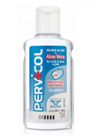 Alcohol en Gel Incoloro con Aloe Vera Pervicol x 65 ml